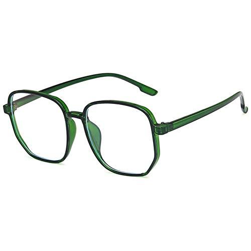 KOOSUFA Gafas grandes antiluz azul sin graduación, unisex, retro, cuadradas, filtro de luz azul, para ordenador, juegos, antifatiga, con funda verde translúcido Talla única