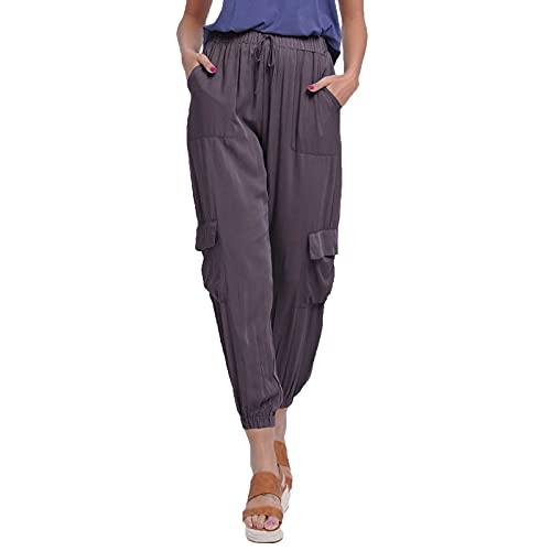 Banbry Damen Cargo Hose Slim Fit Bleistifthose Basic Mittlere Taille Caprihose 3/4 Jogginghose Sweathose mit Taschen