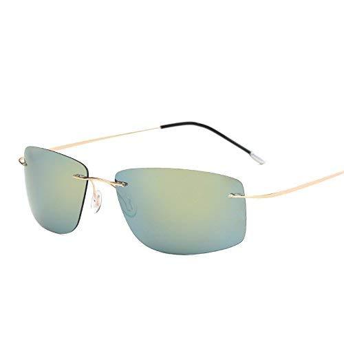 HeiPlaine Gafas de Sol de protección con Estuche Polarized Titanium Silhouette Gafas de Sol Polaroid Gafas Men Square Gafas de Sol Gafas de Sol para Hombres Mujeres Gafas de conducción