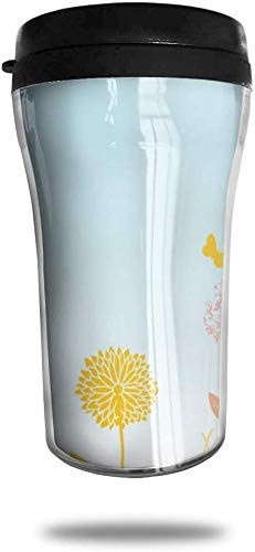 Eriesy Thermobecher Kaffee to Go, Kaffeebecher Thermo mit Deckel,Dandelion Plants and Butterflies Travel Coffee Mug Delicate Printing Portable Vacuum Cup