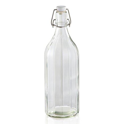 Leifheit Bouteille Facette 1 L avec étiquette, bouteille en verre avec bouchon à étrier, bouteille transparente résistante à la chaleur