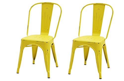 Fashion Commerce 02-FC571 Set di 2 sedie MOD. Tolix Gialle anticate, Acciaio, 2 unità