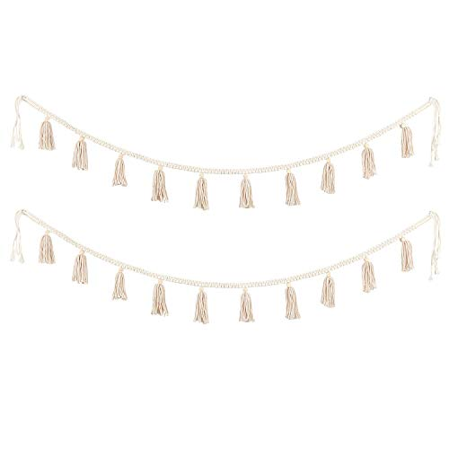 BlueMake 2 Pack Macrame Woven Tassel Garland Belly Basket Decorative Wall Hangings for Boho Home Decor,Nursey Room(Ivory B)