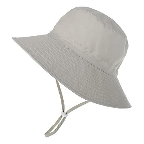 Highdi Sombrero de Sol para Niños, Sombrero Pescador Verano Unisexo Niño Niña Gorra de Sol con Correa de Barbilla Ajustable con Estampado, Bebé Sombrero de Playa UPF 50+ (Gris,M(50-54cm))
