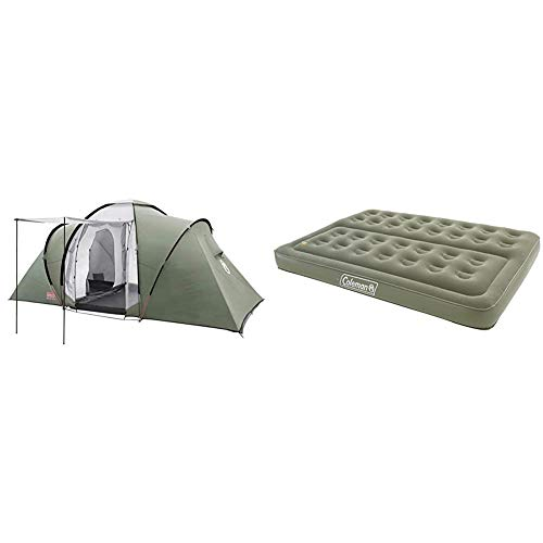 Coleman Tent Ridgeline 4 Plus, 4 Man Tent, 4 People Vis-A-Vis Tunnel Tent, Camping Tent & Comfort Double Flocked Surface Inflatable Camp Air Bed - Green, 188 x 137 x 22 cm