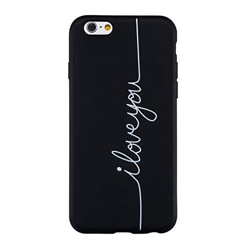 LeviDo Cover Compatibile per iPhone 5/iPhone 5s/iPhone SE 2016 Silicone Morbida Nero Gomma Ultrasottile Bumper TPU Gel Case Motivo Disegni Resistente Protettiva Antiurto Custodia, I Love You