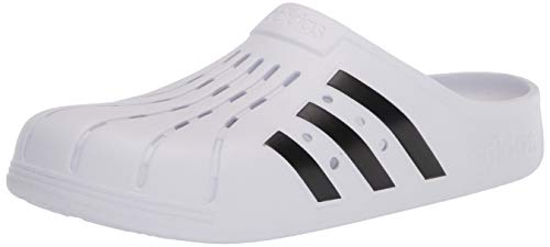 adidas unisex adult Adilette Clog Slide Sandal, White/Black/White, 11 Women 10 Men US