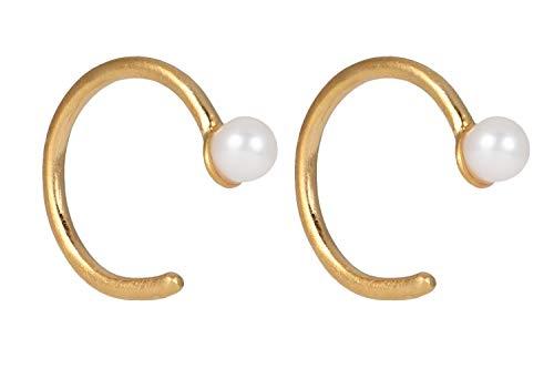 Pernille Corydon Damen Mini Creolen Gold mit Perle - Kleine Perlenohrrige Lagoon Creoles Silber 925 Vergoldet - E114g