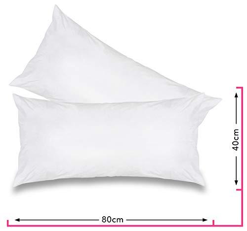 wometo 2er Set Federkissen 100% Federn 40x80 cm - 600g OekoTex Kissen Füllkissen Bezug Baumwolle weiß I Innenkissen/Kissenfüllung/kleine Kopfkissen (viele Maße) (2 Stück)