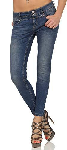 Sublevel Damen Slim-Fit Jeans Hose LSL-358 Skinny Röhre im Used-Look Middle Blue Denim L