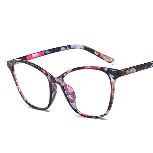 Powzz ornament Montura de gafas de ojo de gato para mujer y hombre, gafas transparentes Retro Vintage para mujer, gafas con montura metálica, gafas transparentes-flor