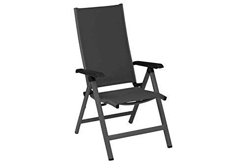 Kettler Friends - Sedia pieghevole con struttura in alluminio e rivestimento in texile, colore: antracite/antracite