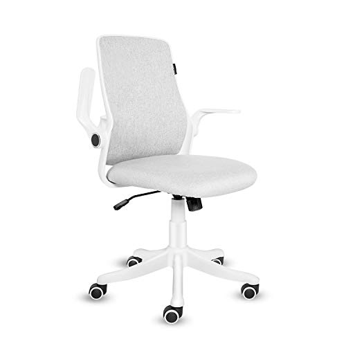 ELECWISH Office Chair with Flip-up Armrest, Ergonomic Computer Chair with Adjustable Lumbar Support, Desk chair Compact Design 120° Locking 360° Rotation, (White, Classic)