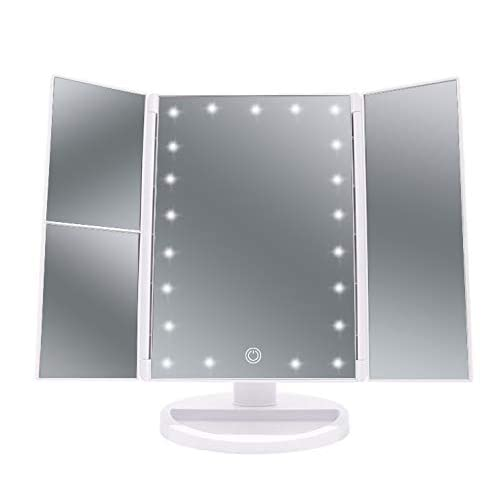 21 LED Trifold Illuminated Makeup Mirror, ELOKI Lighted Vanity Mirror with Touch Screen Dimming and USB Powered, Illuminated Cosmetic Mirror,180° Swivel Rotation (White )