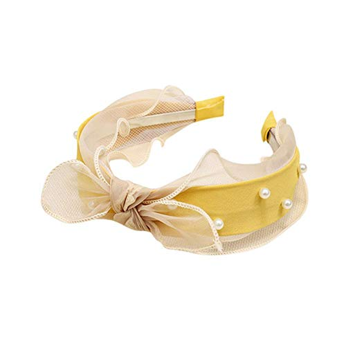 Cerchietto con nodo a fiocco, romantico, elegante, vintage, con perle e fiocco, annodato, per le donne per uso quotidiano, accessori per lo styling dei capelli