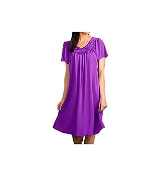 Shadowline Petals Short Sleeve Gown  36280  1X/Purple
