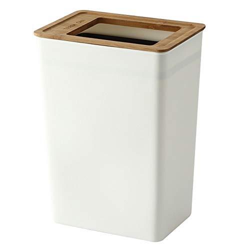Cubo de la Basura, japonés Secreto Innovative Plastics Papelera de Reciclaje for Cocina de la casa Tienda de Vivir Oficina de habitación (Capacity : M, Color : White)