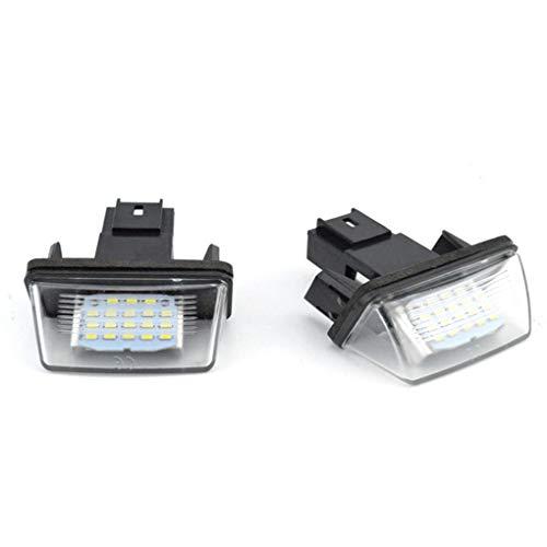 fgyhtyjuu 1 Paire 12V LED Plaque d'immatriculation Lumière de Remplacement pour Voiture Citroen C3-C5 Peugeot 206/207/307/308/406/407