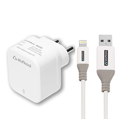 Stuffcool Charge it 2.4A Dual USB Mobile Wall Charger BIS Certified No R-81007650 with 1.5M Swift USB A to 8 Pin Nylon Braided Lightning Cable - White