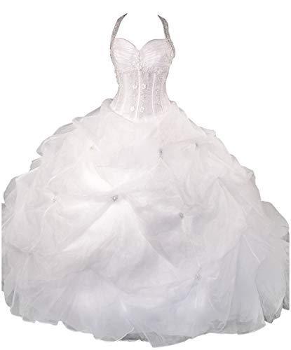 Romantic-Fashion Brautkleid Hochzeitskleid Weiß Modell PL0450 A-Linie TAFT Perlen Pailletten Rüschen DE Größe 36