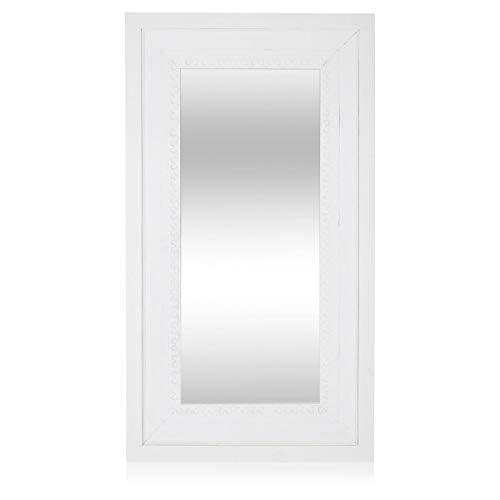 Pureday miaVILLA Spiegel - aufwendig gearbeitete Ornamentik - weiß - ca. 100 x 180 cm