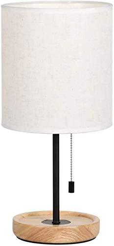 QTWW Lámpara de Mesa de Noche Lámpara de Lectura Decorativa para dormitorios Redondos con Interruptor de Cadena de tracción y Pantalla de Tela Lámpara de Escritorio de Madera de Estudio para Sala