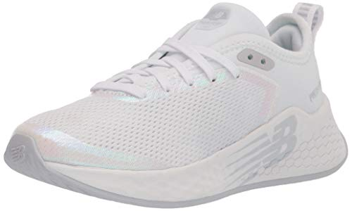 New Balance Girls Fresh Foam Fast V2 Lace-Up Running Shoe, White/Iridescent, 11 Wide Little Kid