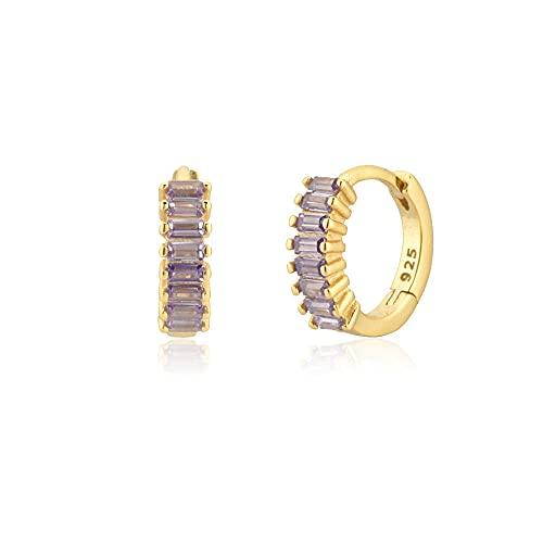 Pendientes Mujer Plata De Ley 925 Medio 7.5Mm Huggies Aros Coloridos Piercing Clips Colgante Boda Joyería Fina Clips Gold Purple