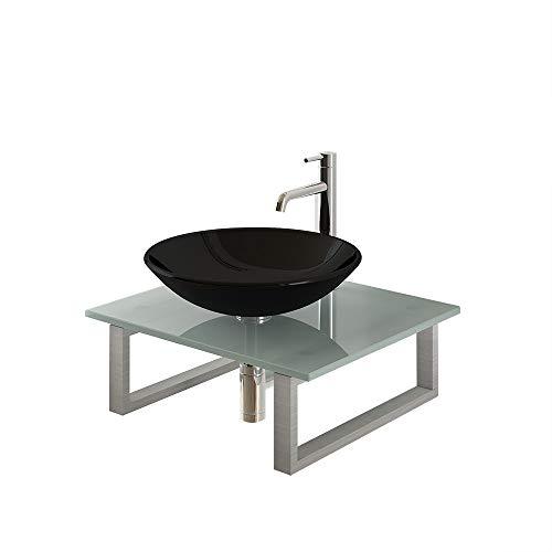 Modernes Alpenberger Aufsatzwaschbecken Ø 46 cm aus Sicherheitsglas ESG 12 mm inkl. Stützkonsole und Glasplatte 60 cm   Perfektes Gäste WC Handwaschbecken Kleine Waschschale ideal für Ihr Bad