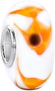 MATERIA Murano cristal Beads colgante pez 925plata de ley blanco amarillo para beads pulsera # 463