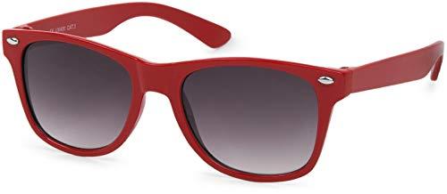 styleBREAKER Kinder Nerd Sonnenbrille mit Kunststoff Rahmen und Polycarbonat Gläsern, klassiches Retro Design 09020056, Farbe:Gestell Rot/Glas Grau Verlauf