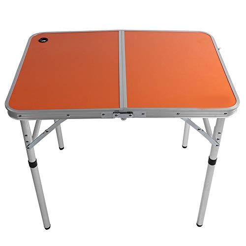 MAGT Adjustable Camping Table Foldable Desk, Portable Outdoor Table Adjustable Camping Table Aluminum Alloy Picnic Table Durable Outdoor Desk for Picnic Laptop Bed Desk(Orange)