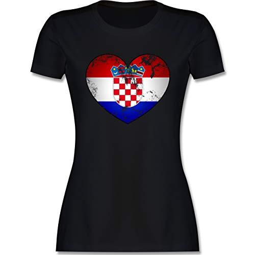 Fussball EM 2021 Fanartikel - Kroatien Vintage Herz - XL - Schwarz - Kroatien Trikot 2018 Damen - L191 - Tailliertes Tshirt für Damen und Frauen T-Shirt