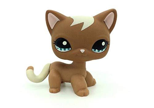 WOOMAX Littlest Pet Shop LPS Jouet Cadeau d'anniversaire de No?l avec Un Joli Chat Brun et Une Queue Blanche