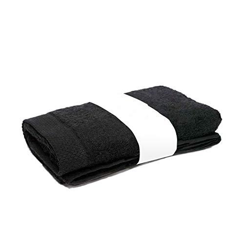 Serviette De Toilette 50x100 cm 100/% Coton 550 grS//m2 Noir Avec Liserets Roug
