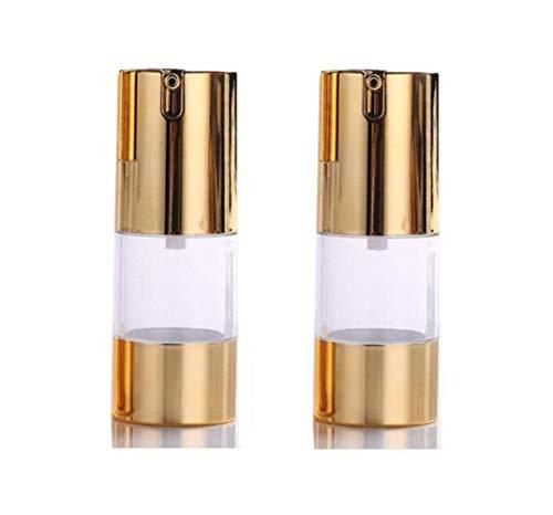 Lot de 3 flacons à pompe dorés vides rechargeables en plastique à baïonnette pour crème, lotion, toner, cosmétiques, produits de toilette or doré 15ML /0.5oz