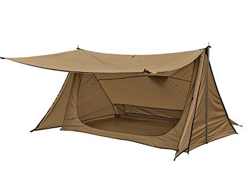 Anlik パップテント ソロキャンプ メッシュインナー 軽量 ポール2本 収納付き (ブラウン)