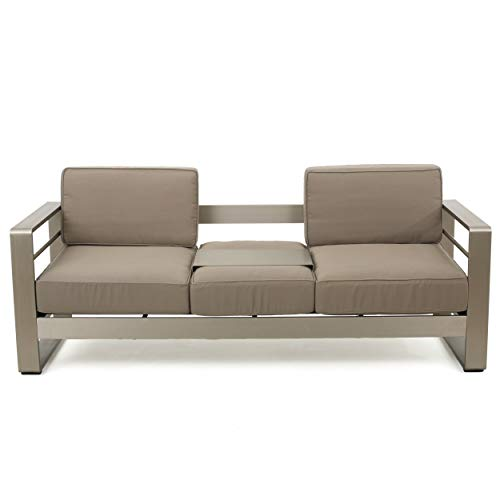 Christopher Knight Home 299431 Crested Bay Outdoor Aluminum Khaki Sofa with Tray