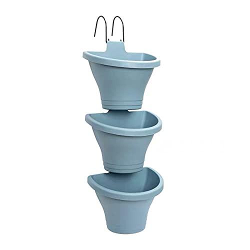 BOICXM - Fioriera verticale da appendere, 3 pezzi, modulare da appendere, con 2 ganci, per giardino, esterni, interni, decorazioni da appendere