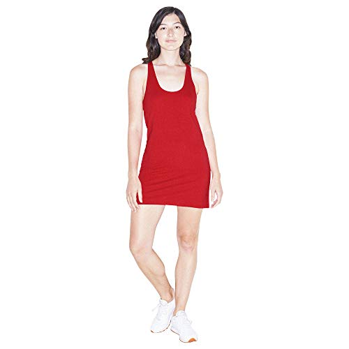 American Apparel Women's Fine Jersey Sleeveless Racerback Tank Dress, Red, Medium