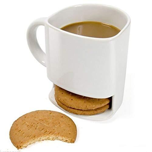 Justdolife Kaffeebecher Kreativ Keramische Trinkbecher mit Kekshalter