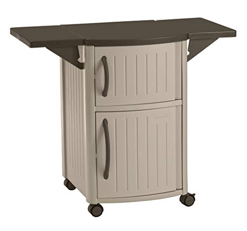 Suncast Outdoor Grilling Prep Station Table with Storage, Taupe/Brown