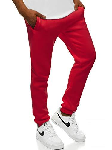 OZONEE Herren Jogginghose Hose Trainingshose Sporthose Freizeithose Unifarbe Herrenhose Sweatpants Fitnesshose Sweathose Fußballhose Jogpants Joggpants 777/888S/59 DUNKELROT XL