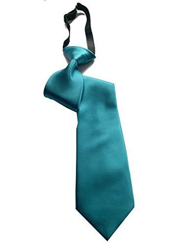 PB Pietro Baldini Corbatas con nudo hecho - Corbata turquesa - Corbata con goma - Corbata 100% microfibra - 51 * 7,5