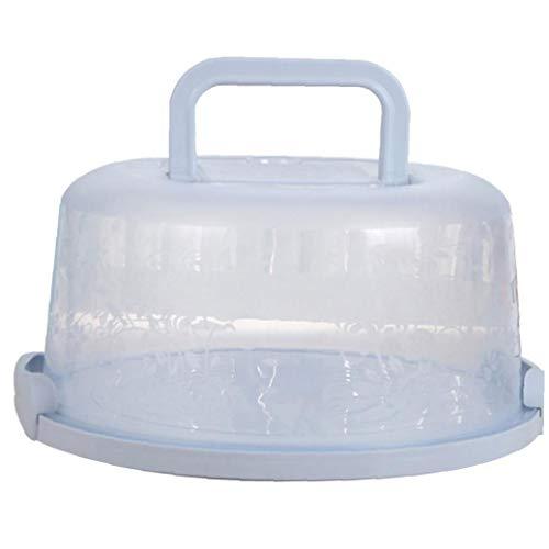 Hiinice Mango portátil de la Torta de la Caja de Transporte de contenedores Pie de Almacenamiento de la Magdalena de luz Azul Redondo Transporte Tapa del Clip de Bloqueo