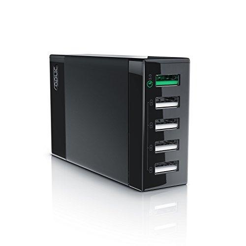 CSL-Computer Aplic - 50W Caricabatterie da Muro Quick Charge 3.0 - Alimentatore Parete 5 Porte USB - Adattatore di Ricarica Rapida - Tecnologia Smart Charge
