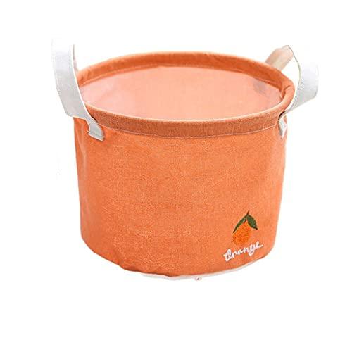 Onlyup Cesta de almacenaje de tela, organizador con 2 asas en ambos lados, plegable, resistente al agua, caja de almacenamiento para niños, juego de organizador, 20 x 15 cm (naranja)