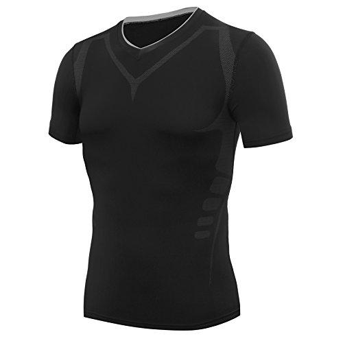 AMZSPORT Herren Kompressions-Shirt Kurzarm Funktionsshirts Baselayer Kurzarm,Schwarz,L