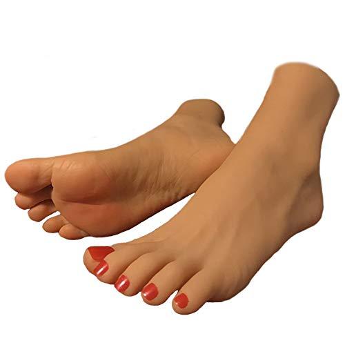 NCBH Feet Fetish, Silicone Feet Fetish, Pies De Silicona Fetiche, Pie de maniquí Femenino de tamaño Natural de Silicona con exhibición de Hueso, joyería, exhibición de Arte,Dark Complexion,A1