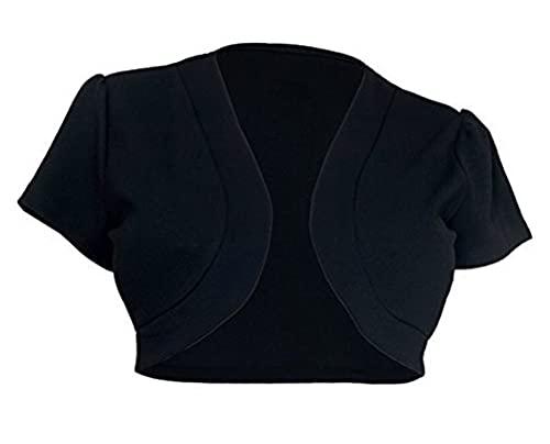 Eghunooye Chaqueta de punto para mujer, de verano, monocolor, de manga corta, bolero, para boda, fiesta, traje Negro S